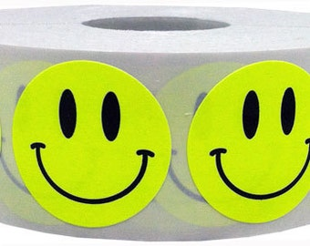1,000 Fluorescent Neon Yellow Smiley Face Stickers - 1 Inch Round