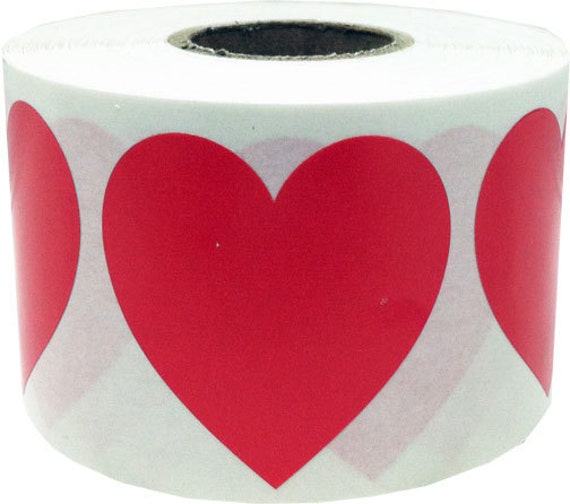 "Large Red Heart Shape Stickers | 1.5"" Adhesive Heart Stickers 