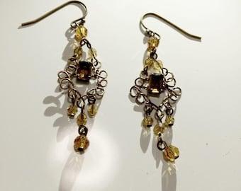 Swarovski topaz earrings