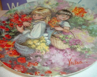 1982 Wedgwood Mary Vickers 3rd issue Our Garden Collector Plate w Box & COA