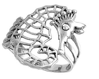 Seahorse Ring 16MM Sterling Silver 925