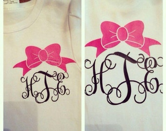 Interlocking monogram with bow!