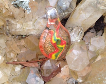 Handblown glass pendant, lampworked, gold fumed, rasta necklace, red yellow and green, rasta colors, implosion pendant