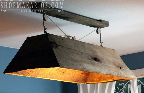 Barn Wood Light Fixture Pendant Light Wood By Makariosdecor