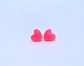 Sweetheart Heart Earrings, Handmade, Polymer Clay, One of a kind, Gift for Valentines Day, Love, Gift