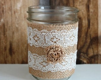 Pint Size Twine Lace Mason Jar Country Chic Wedding Decor, Home Decoration, Wedding Centerpiece
