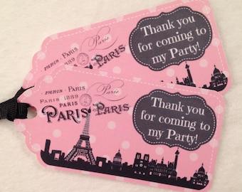 10 - Meet me in Paris Party Favor Gift Tags Birthday Party Favor Paris Party Supplies Paris Birthday Handmade Paris Favor Tags