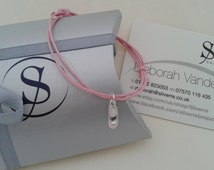 Solid Silver Ballet Slipper Charm, Waxed Cotton Adjustable Silver Charm Bracelet, Silver Ballet Shoe, UK Seller.