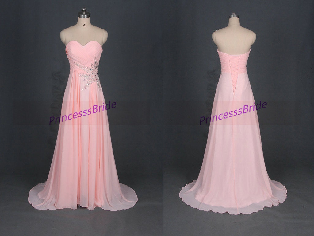 Floor length pink chiffon prom dresses with sequinsaffordable