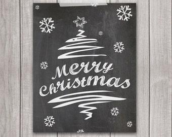 75% OFF SALE - Christmas Printable - 8x10 Merry Christmas, Holiday Print, Holiday Wall Art, Christmas Decor, Xmas Art, Christmas Decor