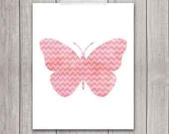Butterfly Wall Art - 8x10 Printable Wall Art, Butterfly Print, Butterfly Art Print, Nursery Printable, Watercolor, Blue