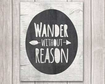 75% OFF SALE - Wanderlust Art - 8x10 Wander Without Reason, Inspirational Print, Wanderlust Print, Printable Art, Explore Print