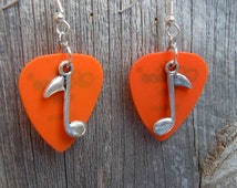 Silver Music Note Guitar Pick Charm Earrings - Pick Your Color