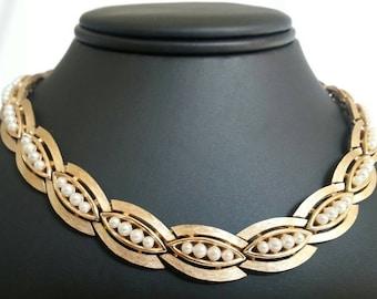Crown Trifari Faux Pearl Gold Necklace