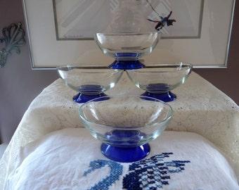 Set of 4 Vintage Cobalt Blue / Clear Glass DESSERT DISHES for Fresh Fruit, Ice Cream, Sherbets, Custard Pudding