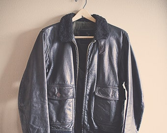 Vintage Bomber Brown Leather Flight Jacket Men's 42 Startown Thick 50's Hipster