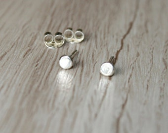 Mini Flat Round Stud Earrings - Sterling Silver - Flat Circle Studs - Tiny Flat Round Post Earrings - Small Round Studs