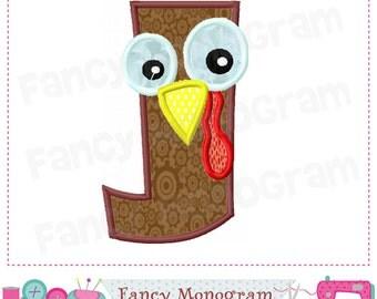 Thanksgiving Monogram J applique, Turkey  Letter J applique,J,Birthday letter J applique,Turkey design,Thanksgiving applique,Embroidery 02