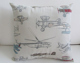 SALE Vintage Planes  Decorative Pillow Cover, Pewter/Natural Kid's  Pillow  Cover