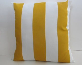 Indoor/Outdoor Decorative Throw Pillow, Citrus Yellow/White Stripe Pillow Cover