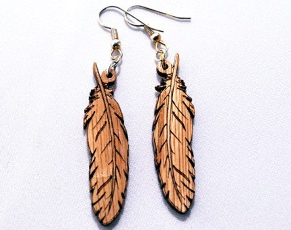 Wooden Earring, Large Feather, Natural Wood Jewelry, Tribal, Dangle Earring, Earth Friendly, Great gift idea