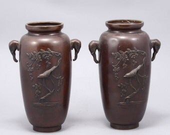 Japanese Art - Pair of Antique Japanese Bronze Vases