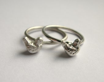 Handmade Hallmarked Sterling Silver Fat Birdie Ring (all sizes available)