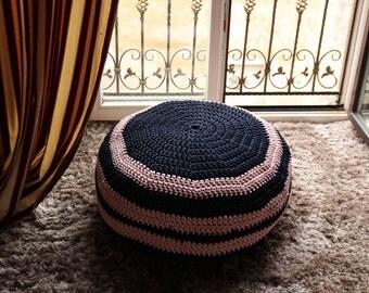 BLACK/PINK Crochet POUF Pouffe Floor Cushion Ottoman Handmade