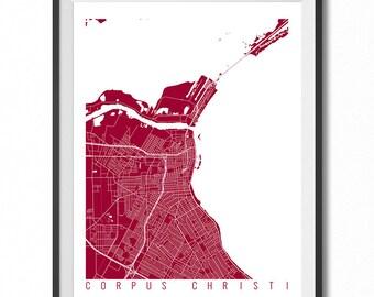 CORPUS CHRISTI Map Art Print / Texas Poster / Corpus Christi Wall Art Decor / Choose Size and Color