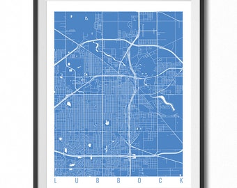 LUBBOCK Map Art Print / Texas Poster / Lubbock Wall Art Decor / Choose Size and Color
