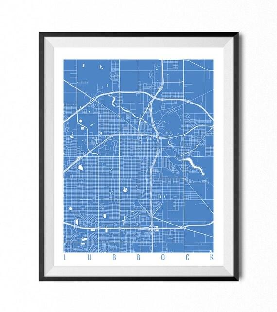Home Decor Lubbock: LUBBOCK Map Art Print / Texas Poster / Lubbock Wall Art Decor