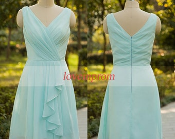 Mint green bridesmaid dress,100% handmade chiffon prom dress,wedding party dress,bridesmaid gown