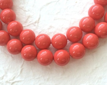 """15-3/4"""" Simon Pink Color Shell Pearl 14MM Round Beads"""