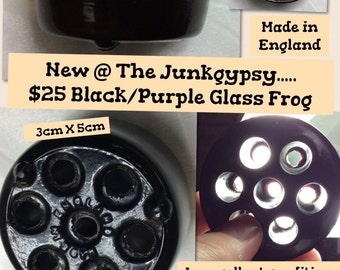 Small black/purple glass FROG vase insert, made in ENGLAND