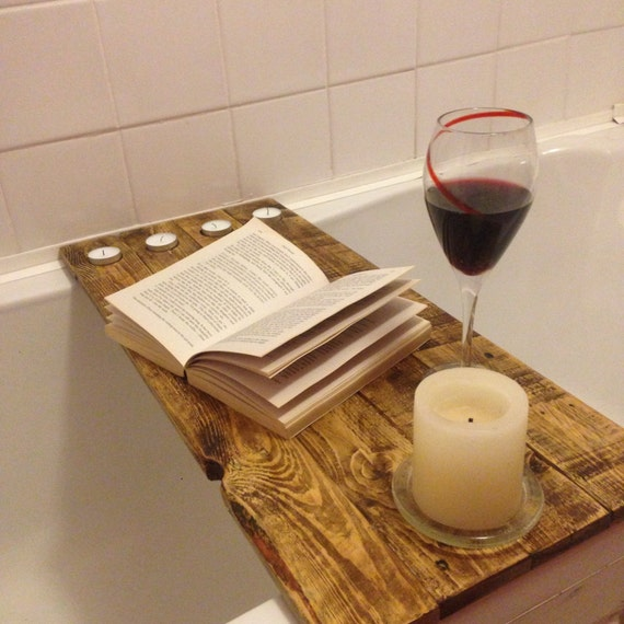 Reclaimed wood bath shelf bath tray / caddy for your books