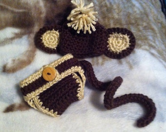 Monkey hat & diaper cover