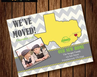 Printable WE HAVE MOVED - Chevron Postcard - Housewarming