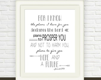 Bible Verse Wall Art // Instant JPEG Download // Jeremiah 29:11 Printable // Hope and Future Christian Print  // Black  White Scripture Art