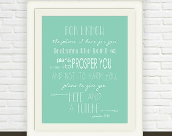 Jeremiah 29:11 Printable // Bible Verse Wall Art // Instant JPEG Download // Mint Green Scripture Art // Hope and Future Christian Print