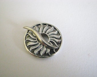 Antique Silver Plated Sun Clasp ~ 22mm