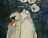 Swan Lake Watercolor Print. Cygnets painting. Baby swans. Country decor. White birds. Water reflection. Blue. Classical. Graceful. Cygnet.