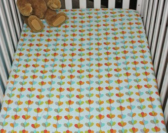 Cotton Fitted Crib Sheet / Petal Garland Fitted Crib Sheet / Girl Fitted Crib Sheet / Modern Crib Sheet / READY TO SHIP