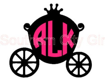 Disney Carriage Monogram- Iron on option available!