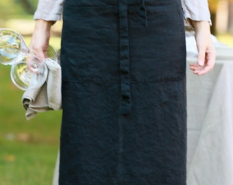 Linen Half Aprons - Long/Garçon Apron/Bistro Apron (Black and White)