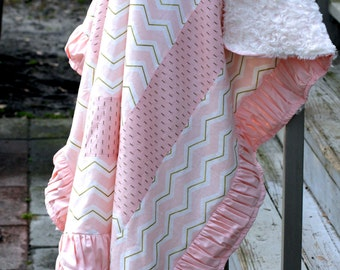 Glitz Pink and Gold Chevron Baby Ruche Blanket