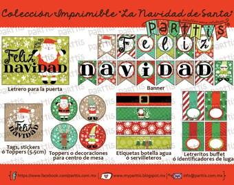 Santa Christmas printable collection Kit