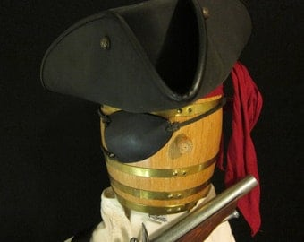Pirate's eye patch, thick leather traditional three point medieval style