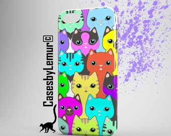 CAT Print Iphone Case Cat Phone Case Cat Iphone 5 Case Cat Iphone 6 Case Cat Pattern Iphone 6 Plus Case Colourful Print Gift for Girlfriend