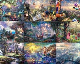 8x12 Thomas Kinkade Cinderella Rapunzel Snow White Ariel Sleeping Beauty Tinker Bell Belle Tiana Jasmine Walt Disney Print Princess Tangled