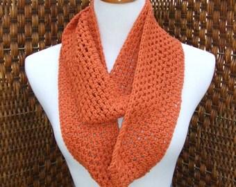 Orange infinity scarf, crochet pumpkin colored cowl, texture, open stitch, unique gift, earthy bohemian, rich orange open weave
